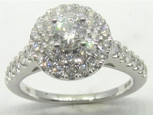 14ct White Gold Diamond Round Cluster Ring TDW 1.00ct image