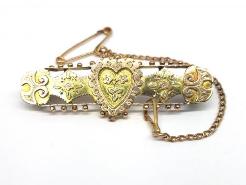 9ct Antique Two Toned Heart Bar Brooch image