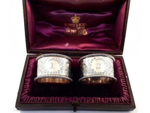 Sterling Silver Napkin Rings Pair In Box 1887 image