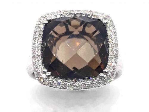 14ct White Gold Smokey Quartz Diamond Cluster Ring image
