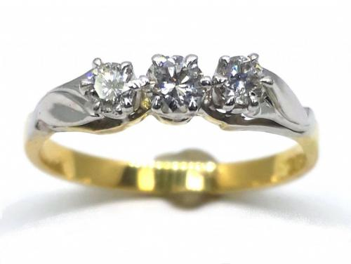 18ct/Platinum Three Diamond Ring TDW.32CT image