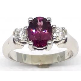 9ct White Gold Rhodolite Garnet & Diamond Ring image