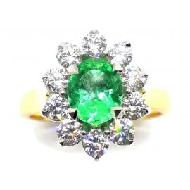 18ct Emerald Diamond Cluster Ring TDW.90CT image