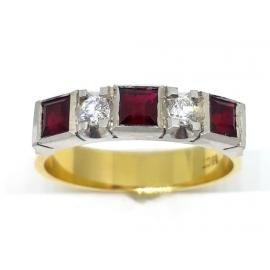 18ct 3 Ruby 2 Diamond Ring image
