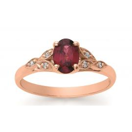 9ct Rose Gold Rhodolite Garnet Garnet Diamond Ring image