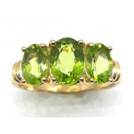 9ct 3 Peridot Diamond Ring image