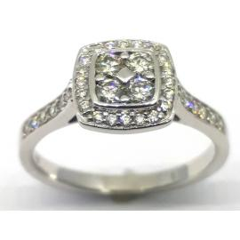 9ct White Gold Square Halo Cluster Ring image