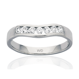 9ct White Gold Diamond Curved Eternity Ring image