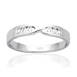 9ct White Gold Diamond Crossover Eternity Ring image