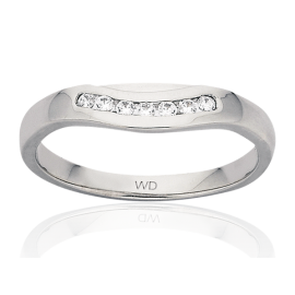 9ct White Gold Diamond Curved Shaped Eternity Ring image