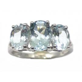 9ct White Gold 3 Aquamarine Dress Ring image