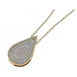 9ct Tri Gold CZ Multi Way Teardrop Pendant and Chain image