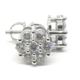 10ct White Gold Diamond Cluster Earrings image