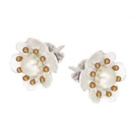 Stg/Rose Gold Plated Freshwater Pearl Flower Earrings image