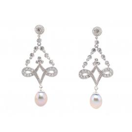 Stg Fresh Water Pearl CZ Chandelier Earrings image