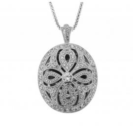 Ellani Stg CZ Cutout Large Locket and Chain image