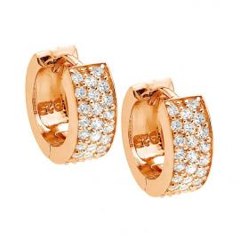Ellani Stg Rose Gold Plated CZ Huggie Earrings image
