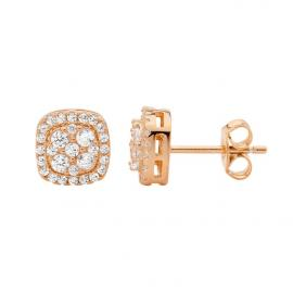 Ellani Stg Rose Gold Plated CZ Square Cluster Stud Earrings image