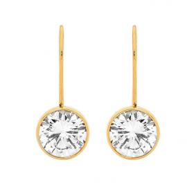 Ellani Gold Plated Stainless Steel CZ Hook Earrings image