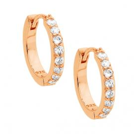 Ellani Rose Gold Plated Stg CZ Hoop Earrings image