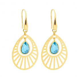 Ellani Gold Plated Stainless Steel Blue Glass Drop Hook Earrings image
