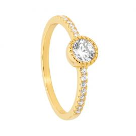 Ellani Gold Plated Stg CZ Solitaire Ring With Shoulder Stones image
