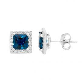 Ellani Stg CZ London Blue Square Stud Earrings image