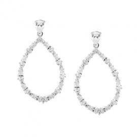 Ellani Stg CZ Open Pear Drop Earrings image