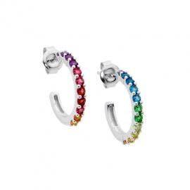 Ellani Stg CZ Multi Colour Half Hoop Earrings image