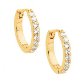 Ellani Gold Plated Stg CZ Hoop Earrings image