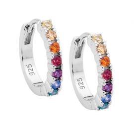Ellani Stg CZ Multi Colour Hoop Earrings image