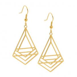 Ellani Gold Plated Stainless Steel Abstract Drop Earrings image