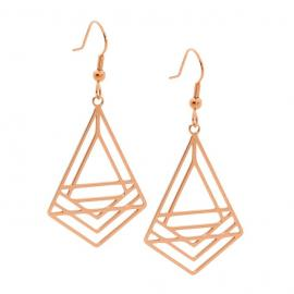 Ellani Rose Plated Stainless Steel Abstract Drop Earrings image