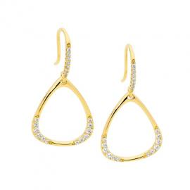 Ellani Gold Plated Stg CZ Open Triangle Drop Earrings image