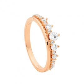 Ellani Rose Gold Plated Stg CZ Graduated Stacker Ring image