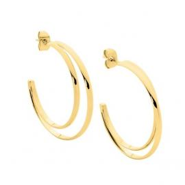 Ellani Gold Plated Stainless Steel Double Half Hoop Earrings image