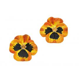 Karen Walker Stg Citrine Enamel Flower Earrings image