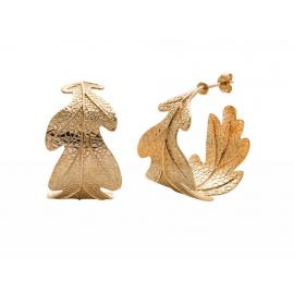 Karen Walker Stg/14ct Gold Plated Oak Leaf Earrings image