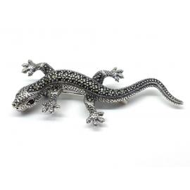 Sterling Silver Lizard Marcasite Brooch image
