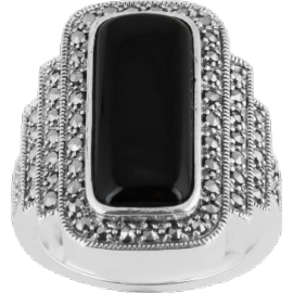 Sterling Silver Art Deco Rectangle Onyz Marcasite Ring image