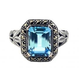 Sterling Silver Blue Topaz Art Deco Dress Ring image