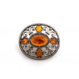 Sterling Silver Amber Marcasite Oval Brooch image