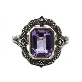 Sterling Silver Amethyst Marcasite Ring image