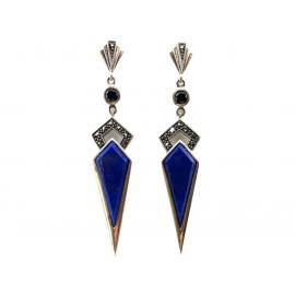 Sterling Silver Lapis Lazuli Marcasite Onyx Drop Earrings image