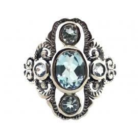 Sterling Silver Blue Topaz Dress Ring image