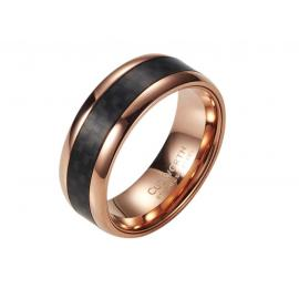 Rose Plated Stainless Steel Carbon Fibre Ring image