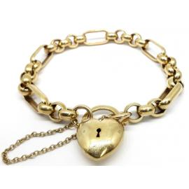 9ct Belcher 5+1 Bracelet with Heart Padlock image