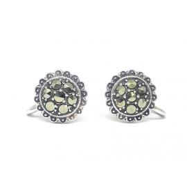Stg Marcasite Screw Back Earrings image
