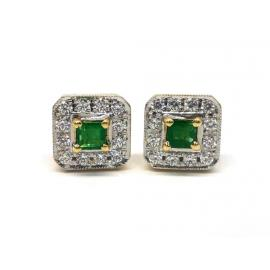18ct Emerald and CZ Earrings image