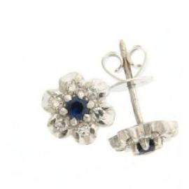 Sapphire and Diamond Cluster Earring image